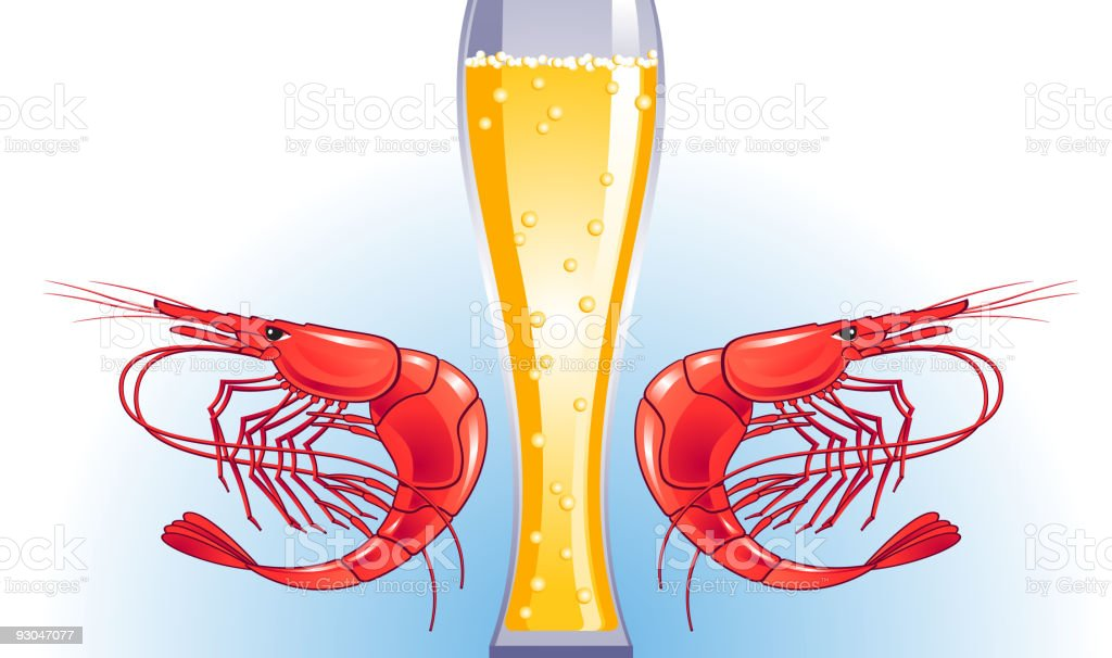 beer-shrimp vector art illustration