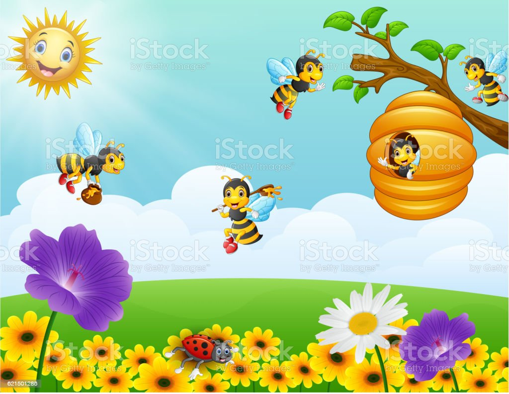 Bees flying around the beehive in the garden vector art illustration