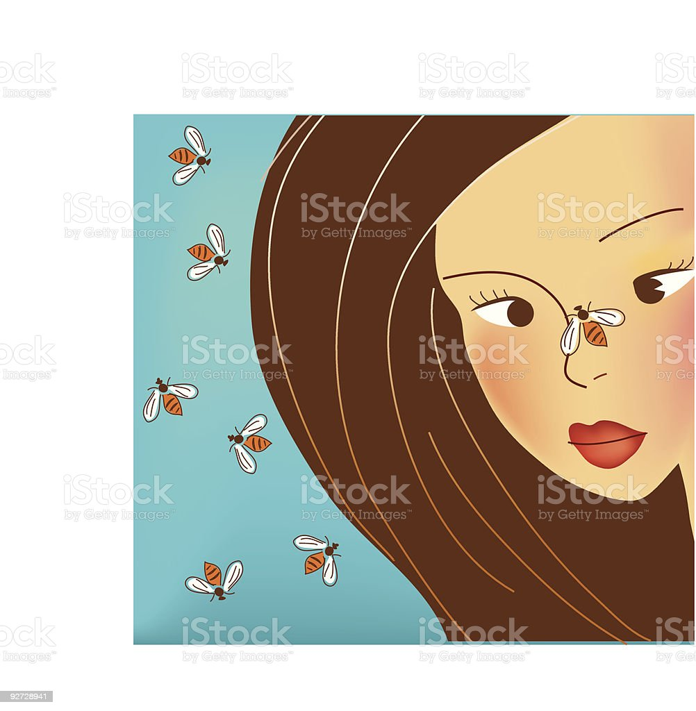 bees flying on girls face royalty-free stock vector art