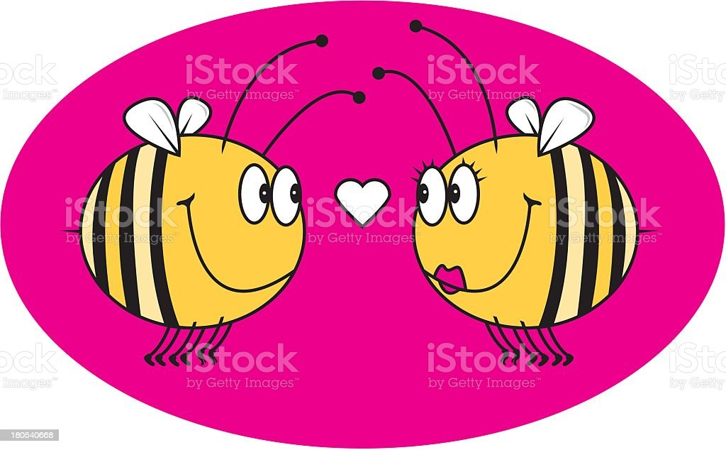 Bees In Love royalty-free stock vector art