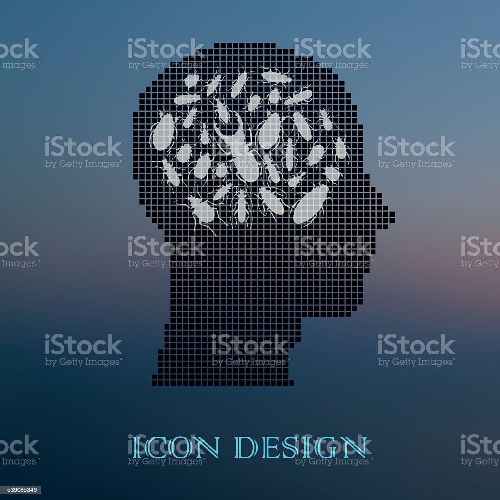 Beetles in human head vector art illustration
