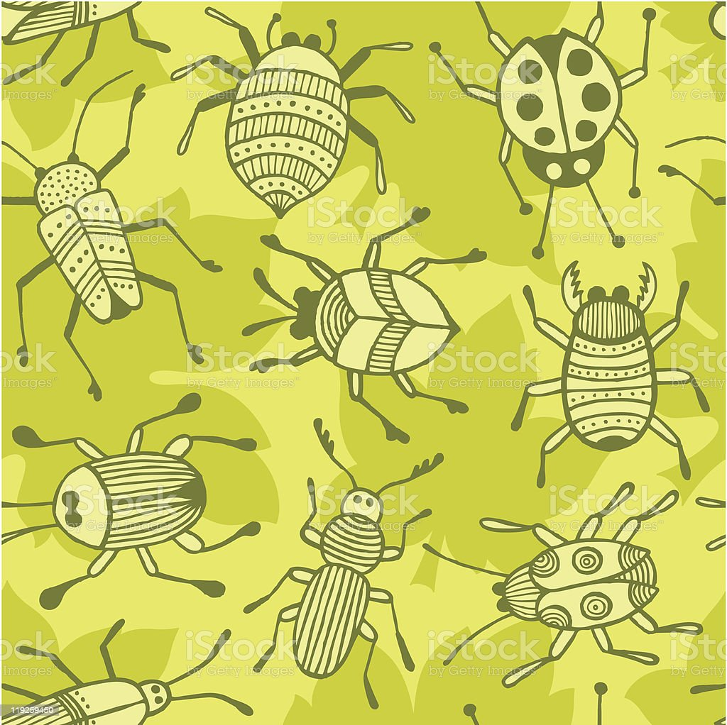 Beetles seamless background royalty-free stock vector art