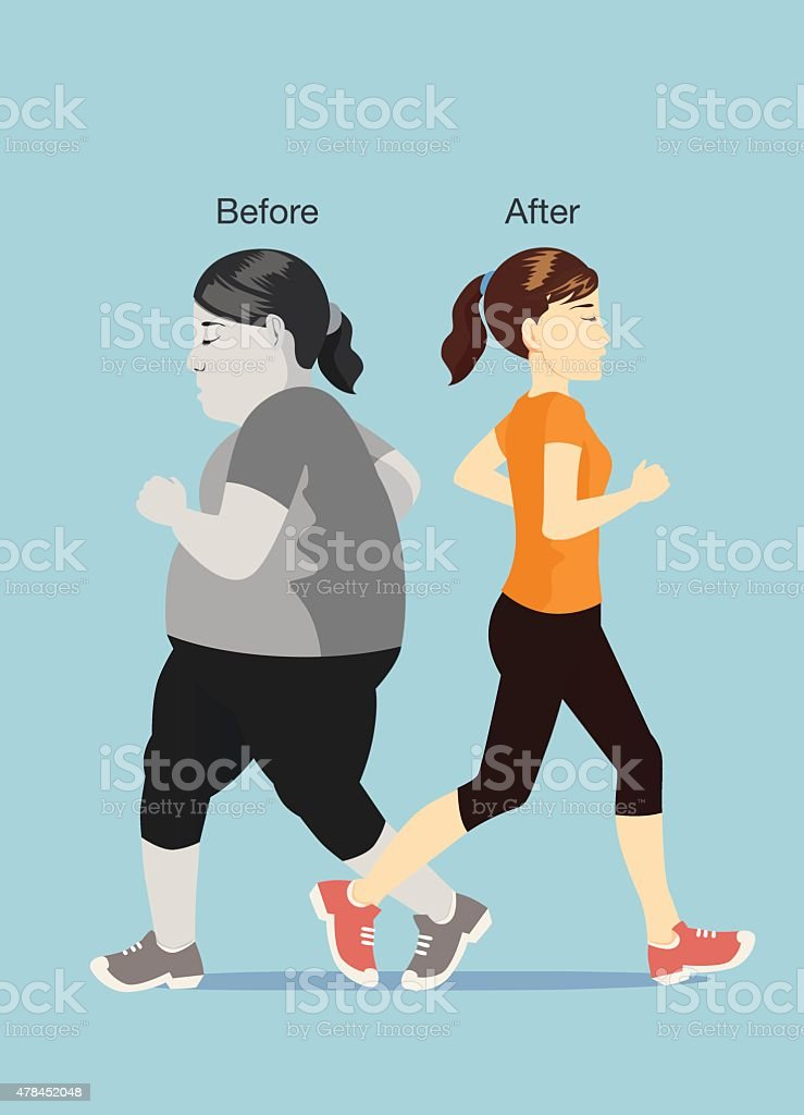 Befor and after of jogging vector art illustration