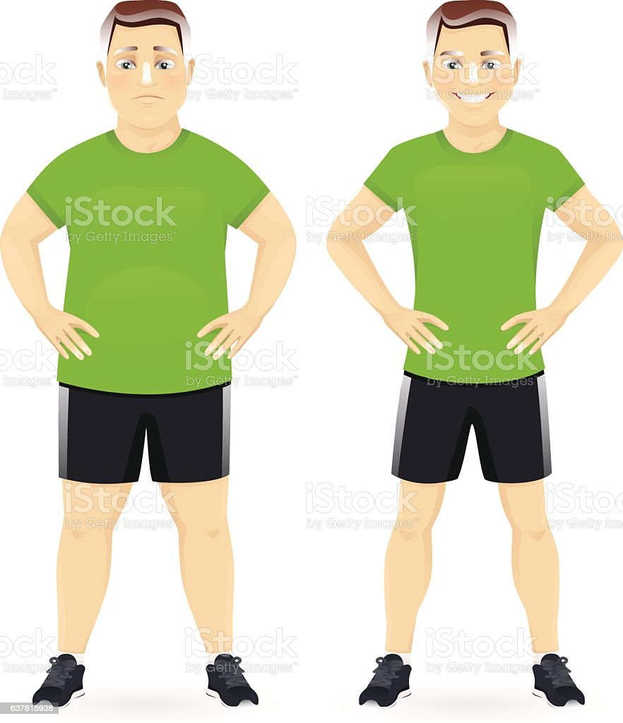 Before and after diet man vector art illustration
