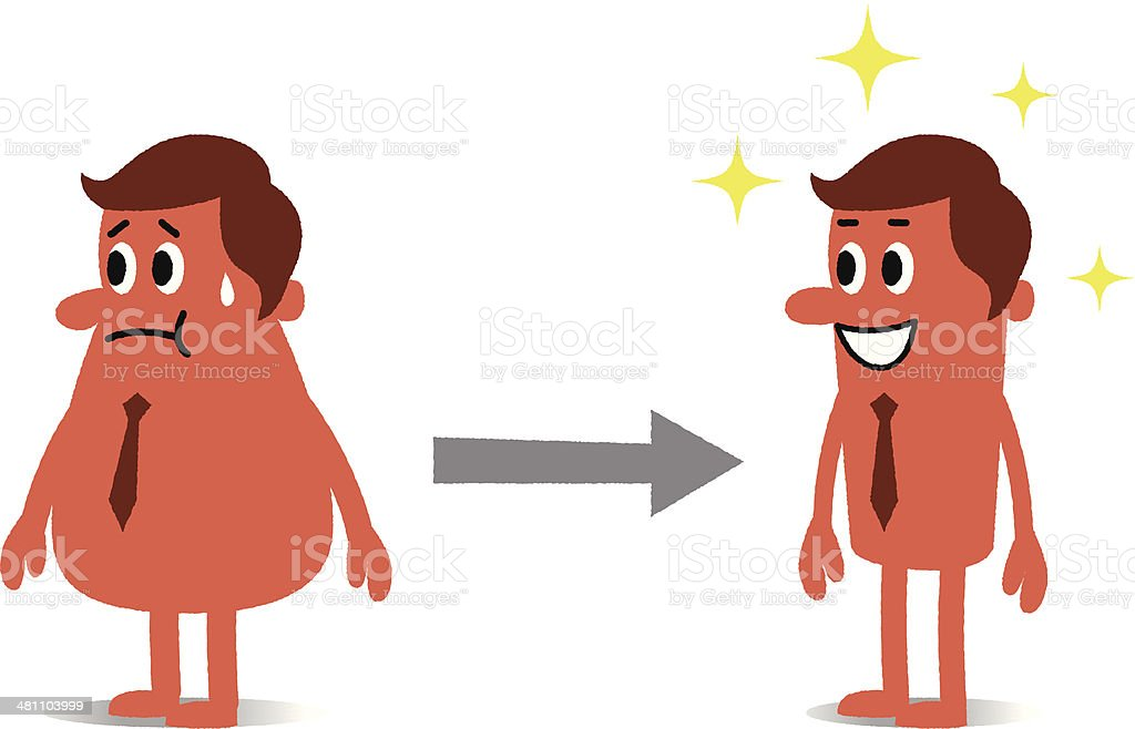 Before and after diet vector art illustration