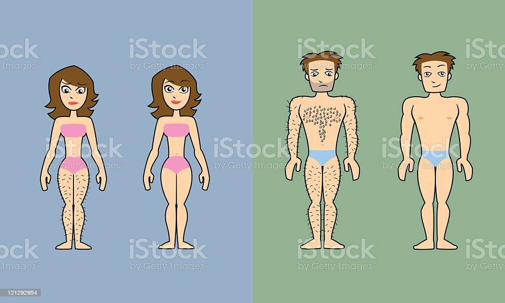 Before and after: Hair removal vector art illustration