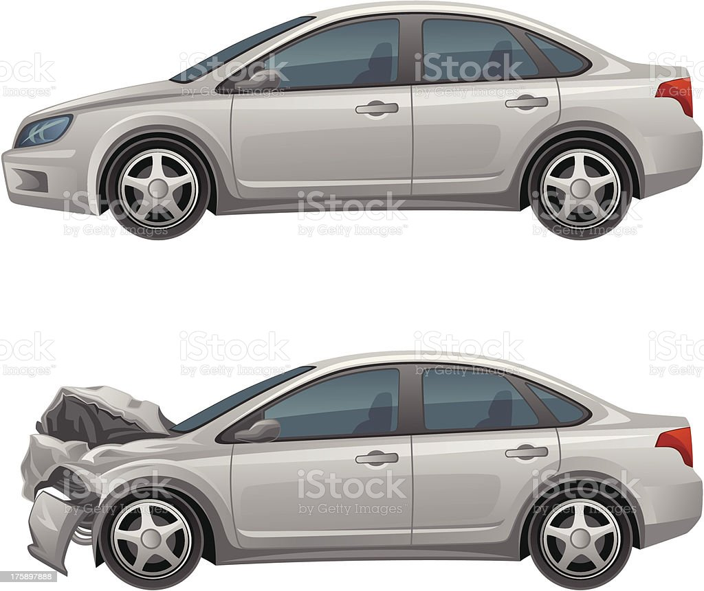 Before and after pictures of the cars damages vector art illustration