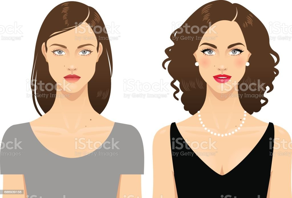 Before and after vector art illustration