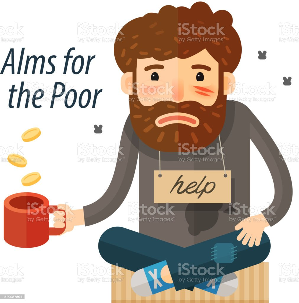 Beggar asking for money. Pauper, bum icon. vector illustration vector art illustration