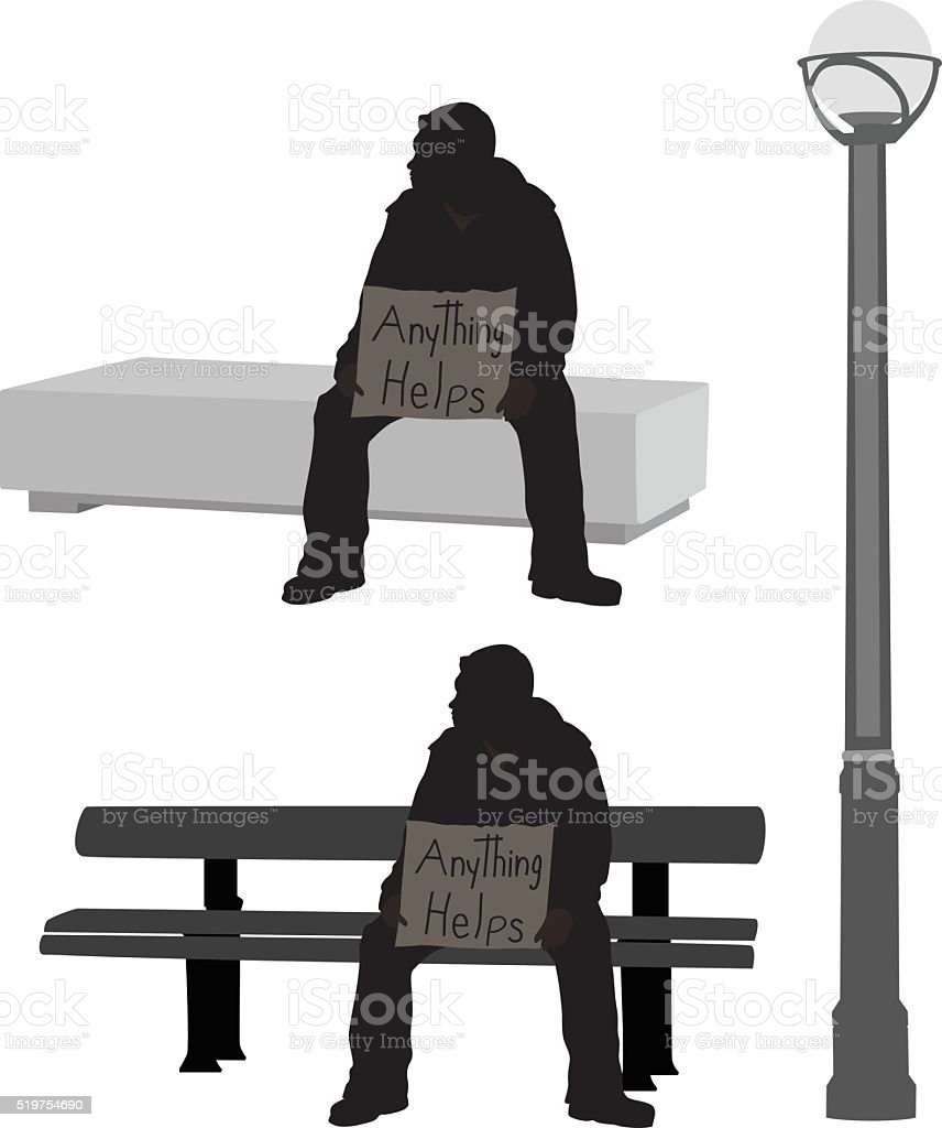 Begger Silhouette vector art illustration