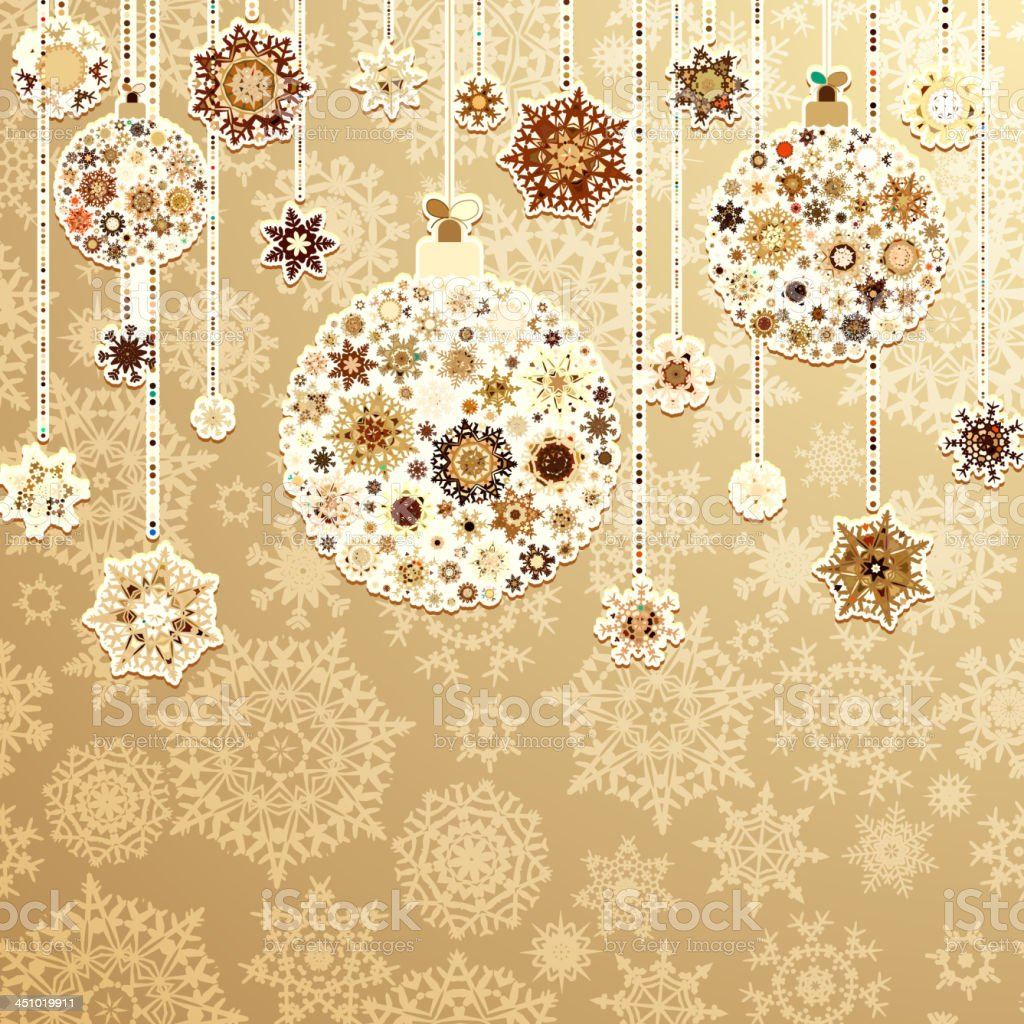 Beige background with christmas balls. EPS 8 royalty-free stock vector art