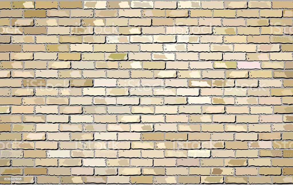 Beige brick wall vector art illustration