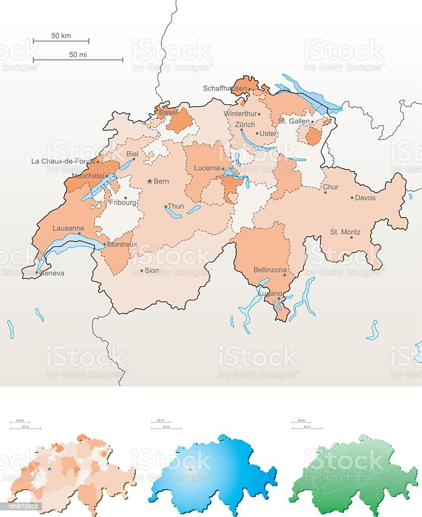 A beige colored map of Switzerland vector art illustration