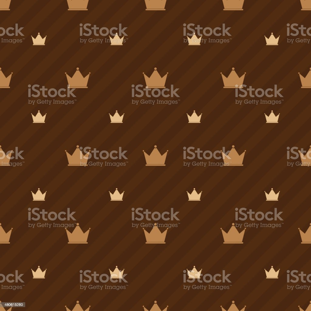 Beige Crowns Icons On Brown Background With Strips, Luxury Seamless  Royalty Free Stock Vector