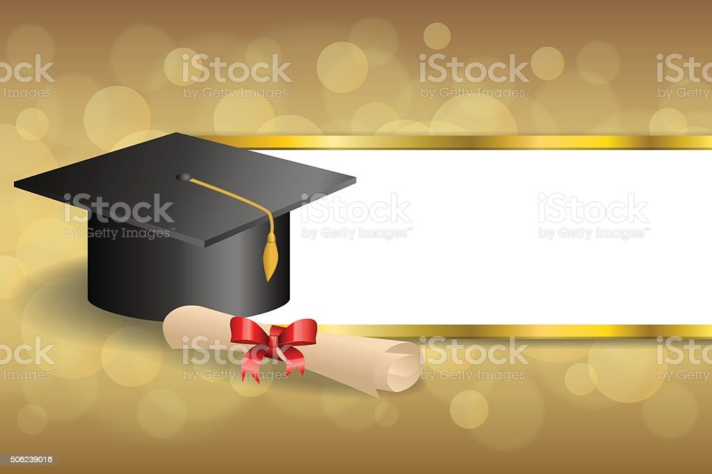 beige education graduation cap diploma red bow gold stripes frame vector art illustration