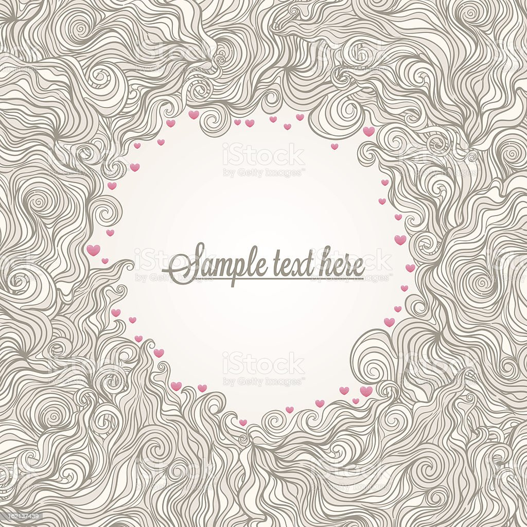 beige frame with hearts royalty-free stock vector art