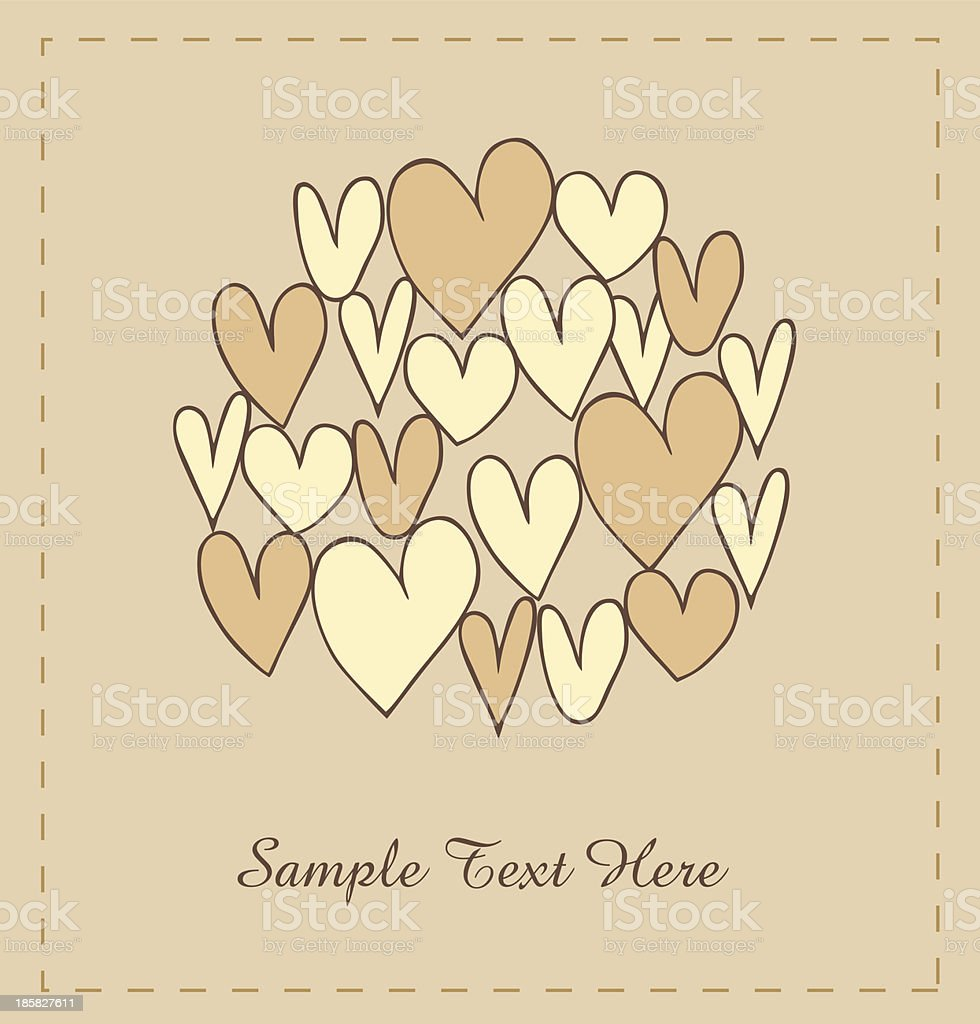 Beige hearts in circle royalty-free stock vector art