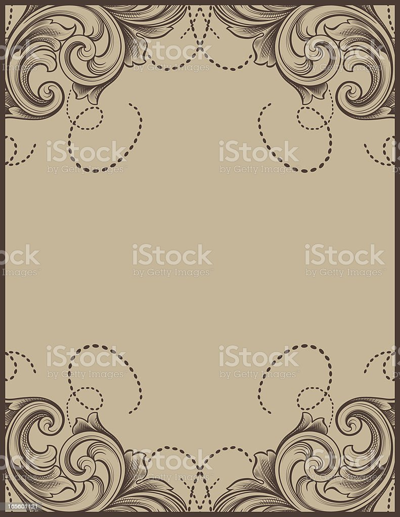 Beige Scroll Frame vector art illustration