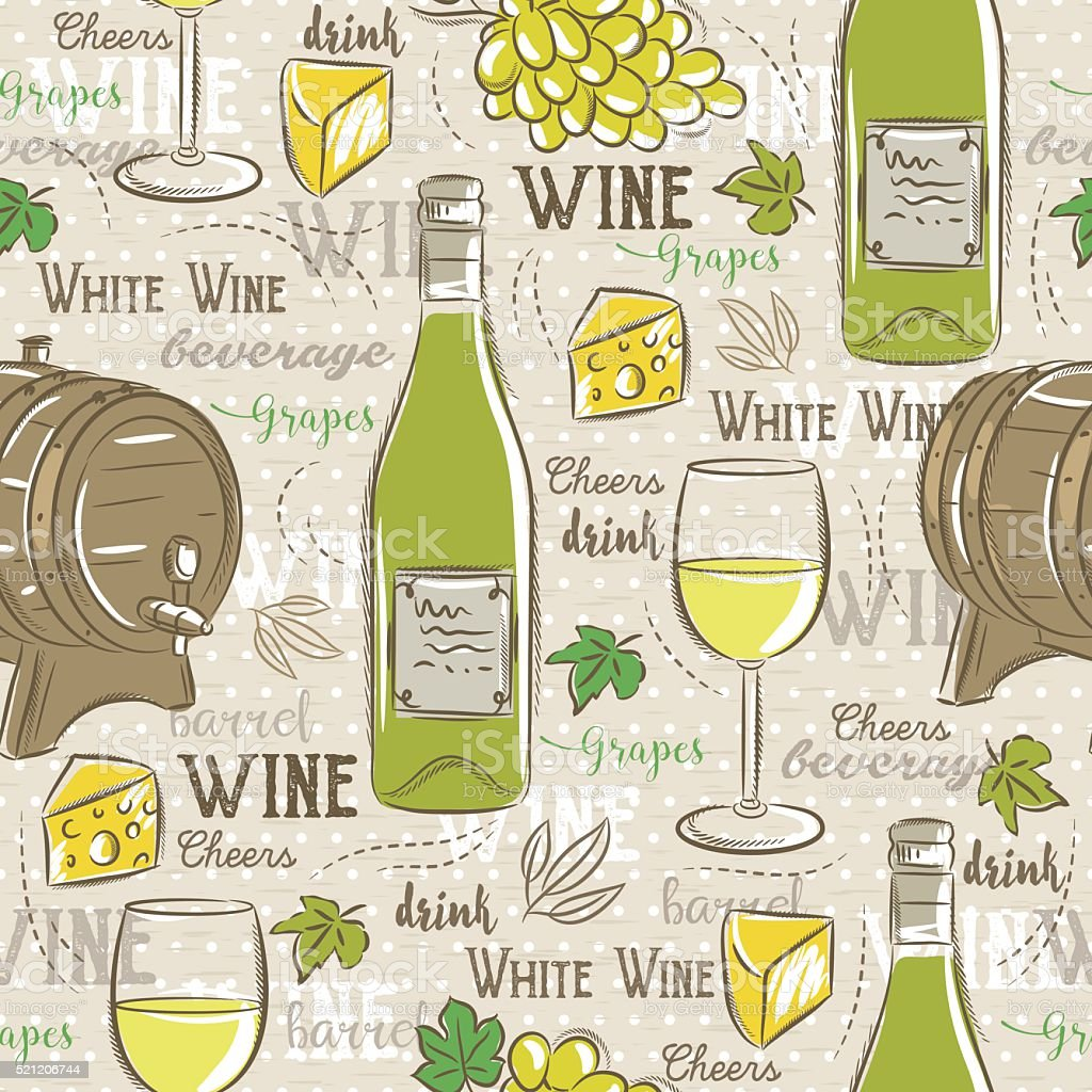 Beige seamless patterns with white wine set, cask, glass, grapes vector art illustration