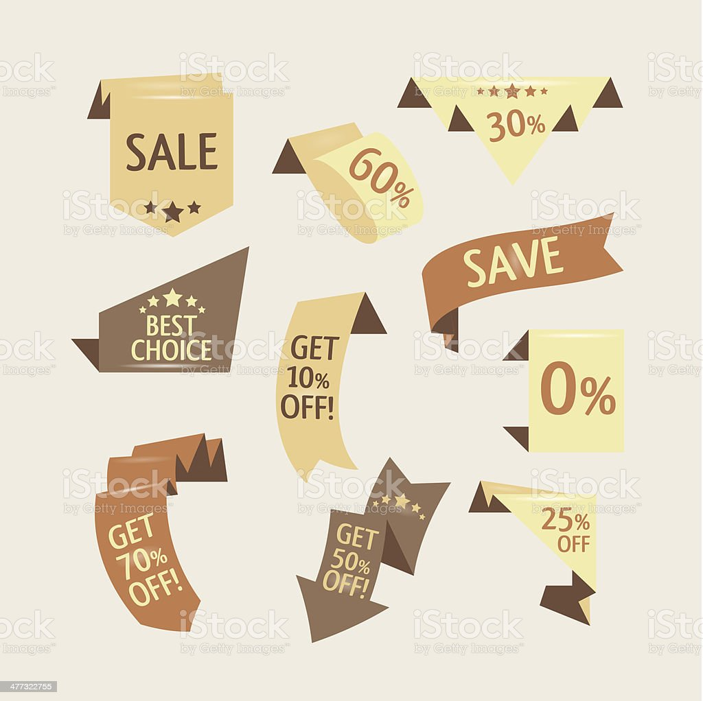 Beige shopping flat ribbons vector art illustration