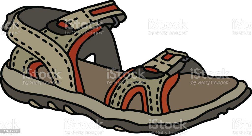 Beige sport sandal vector art illustration