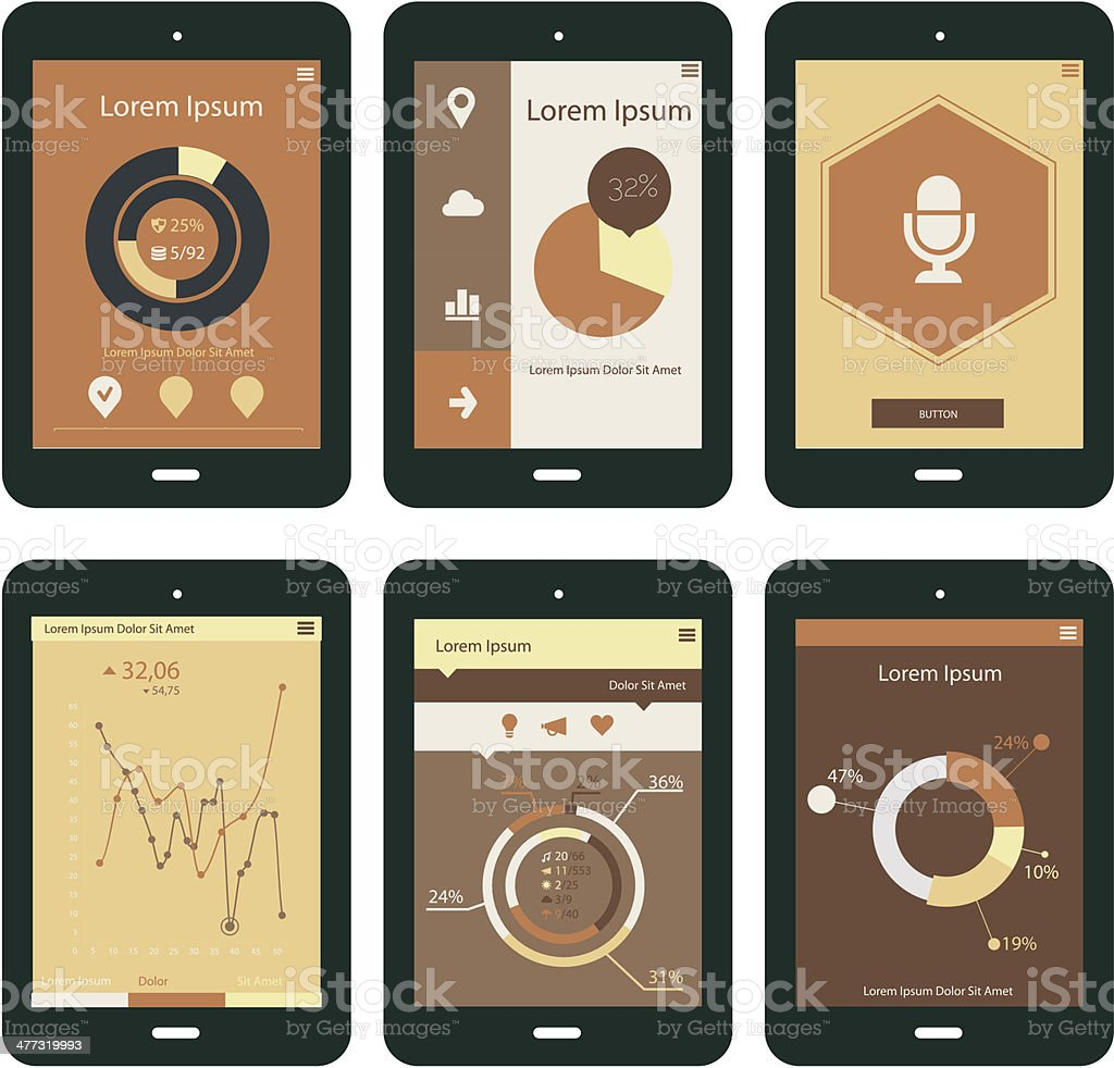 Beige tablet apps templates royalty-free stock vector art