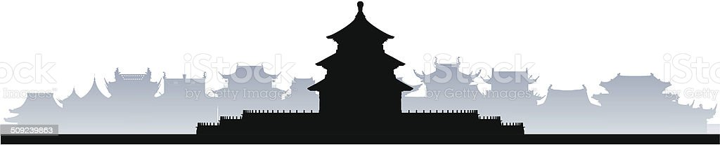 Beijing, China (Complete, Moveable Buildings) vector art illustration