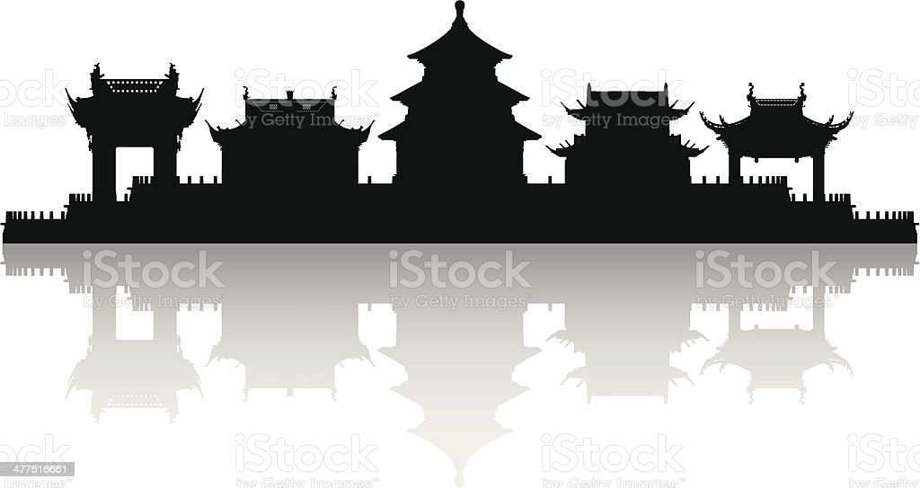 Beijing (Each Building is Moveable and Complete) vector art illustration