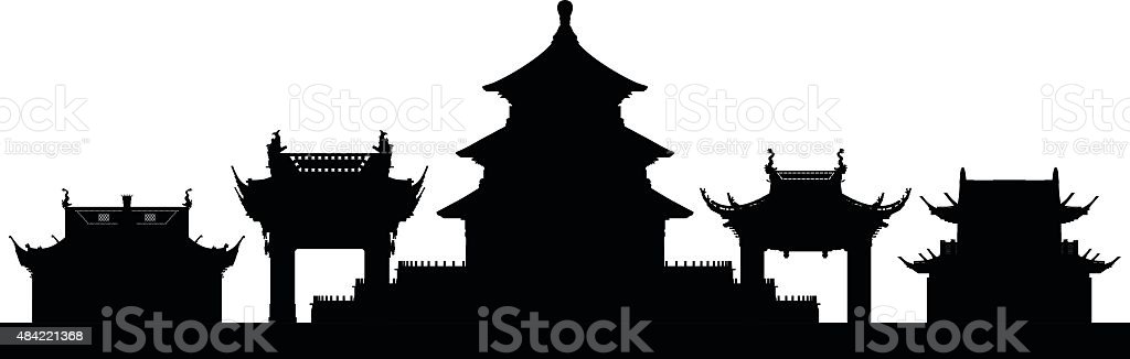 Beijing (Buildings Are Moveable and Complete) vector art illustration