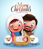 Belen with jesus born in manger with vector characters