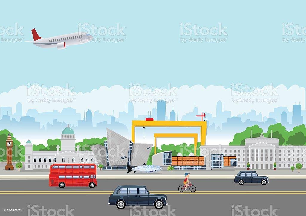 Belfast Landmarks vector art illustration