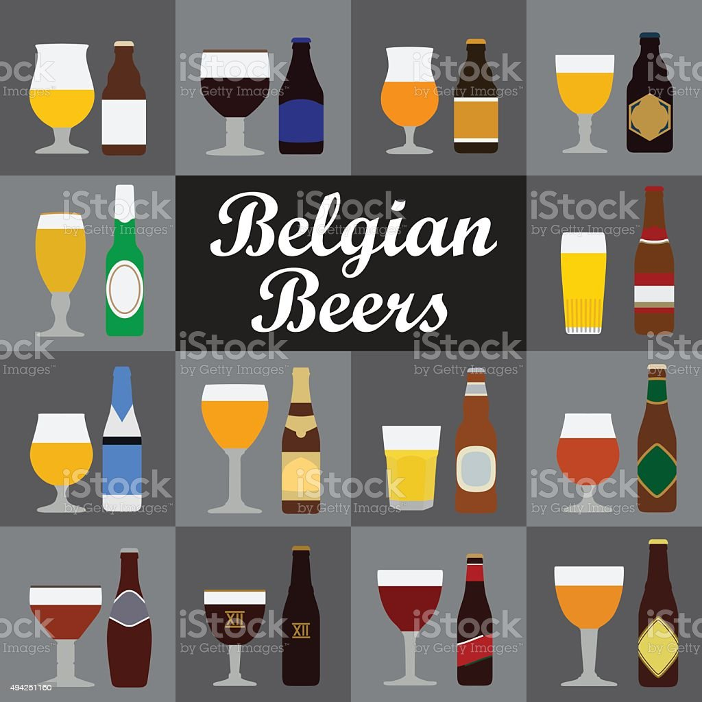Belgian Beers vector art illustration