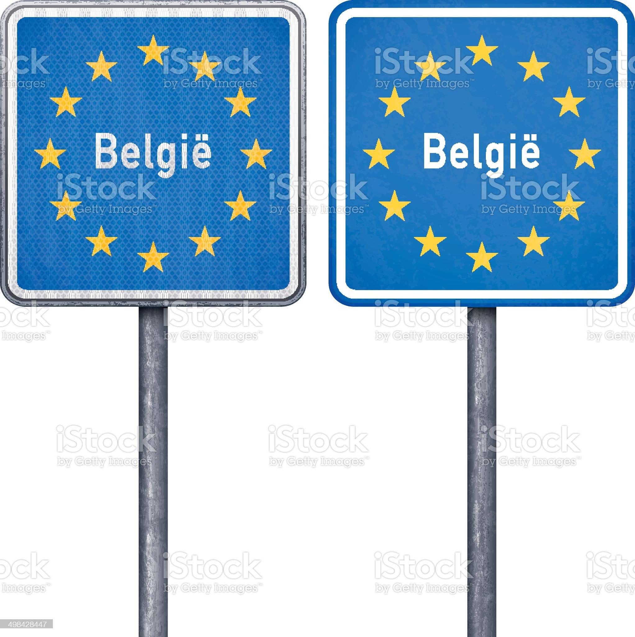 Belgian border road sign with European flag royalty-free stock vector art