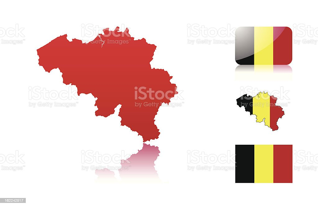 Belgian map and flags royalty-free stock vector art