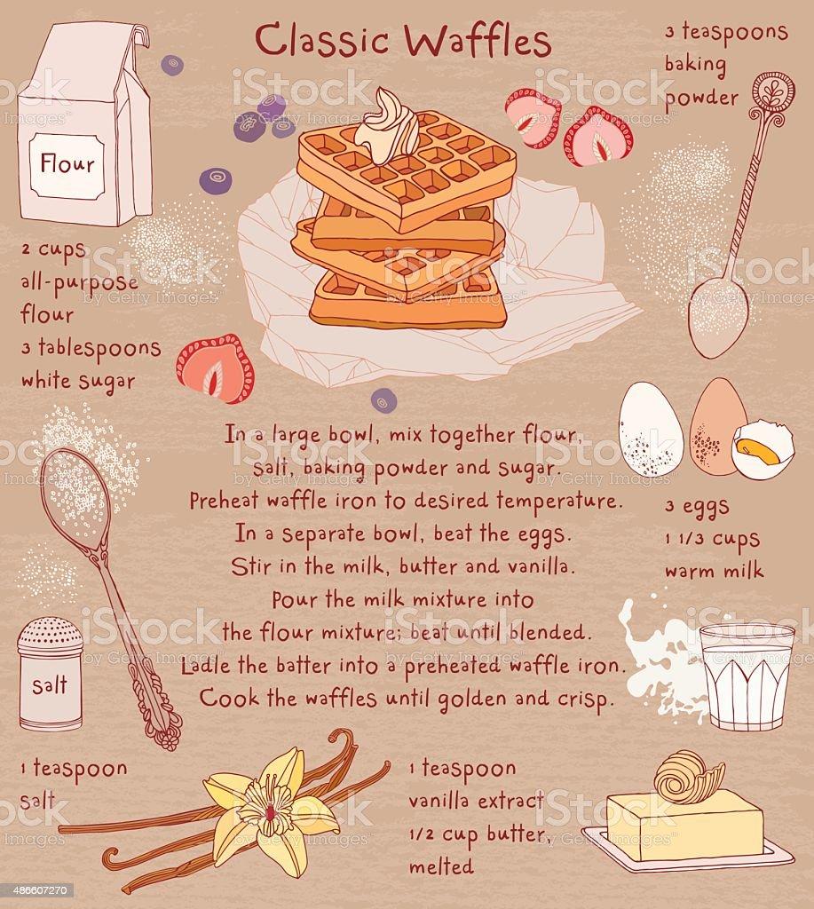 Belgian waffles. Recipe card. Food ingredients. vector art illustration