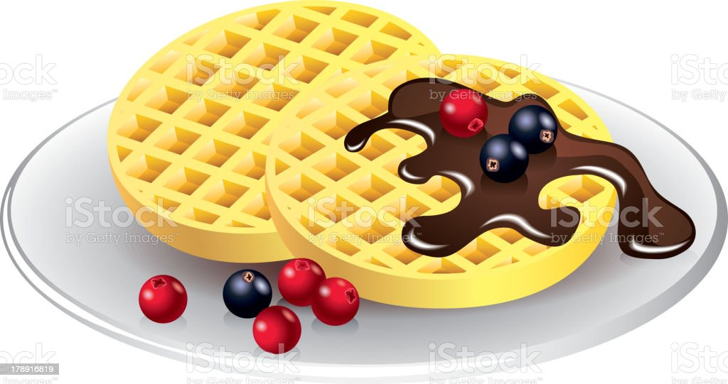 belgian waffles with chocolate and berries vector art illustration