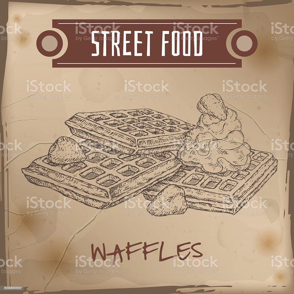 Belgian waffles with cream and strawberries sketch on grunge background vector art illustration