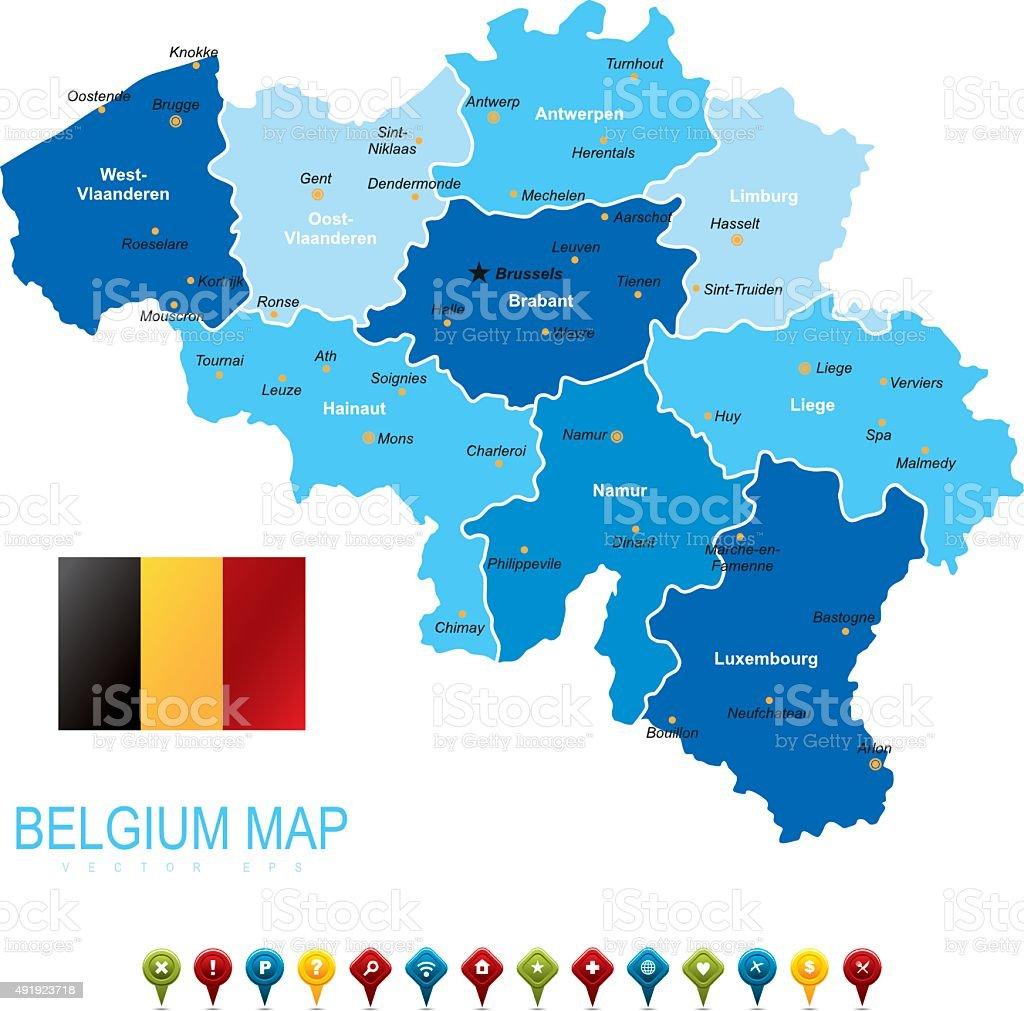 Belgium Blue Map vector art illustration