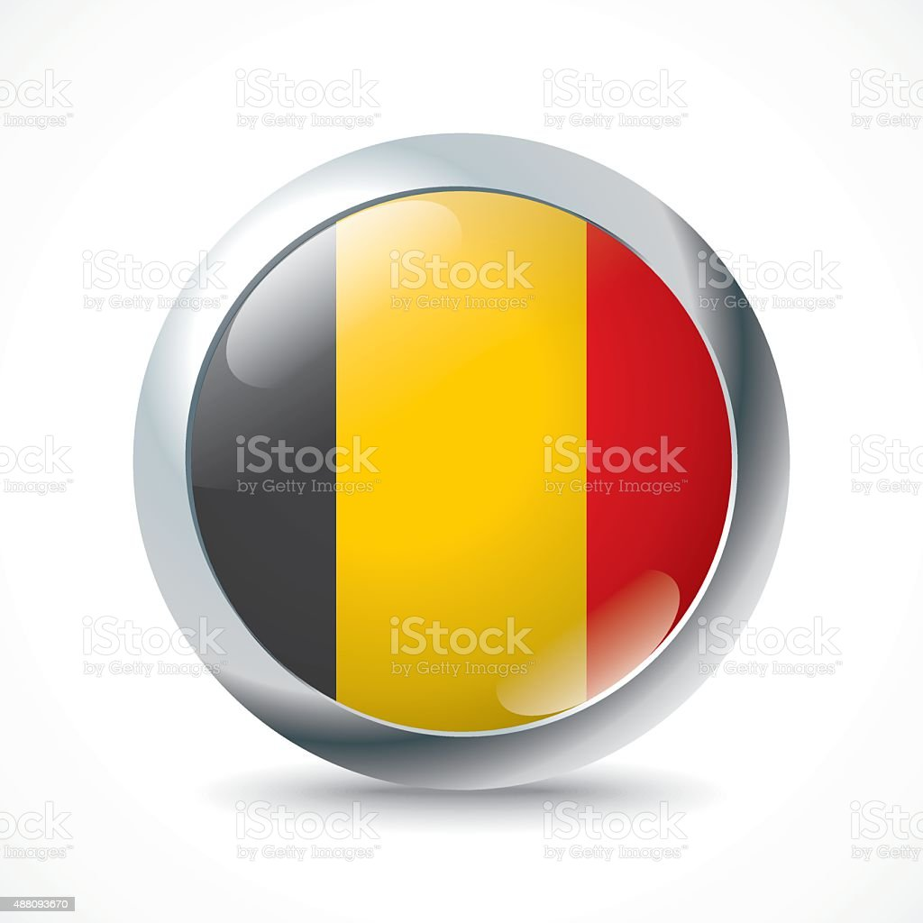 Belgium flag button vector art illustration