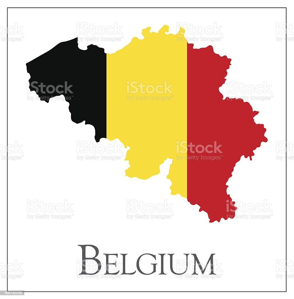 Belgium flag map royalty-free stock vector art