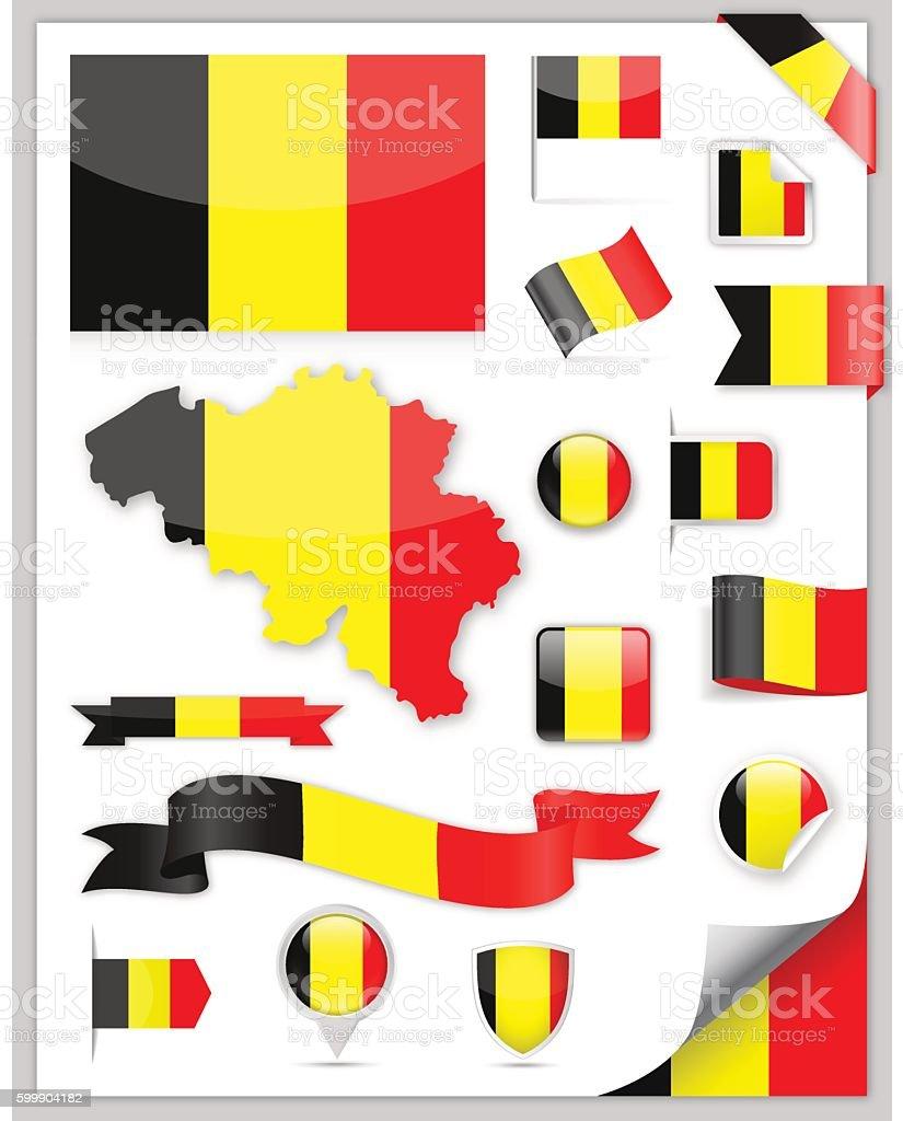 Belgium Flag Set - Vector Collection vector art illustration