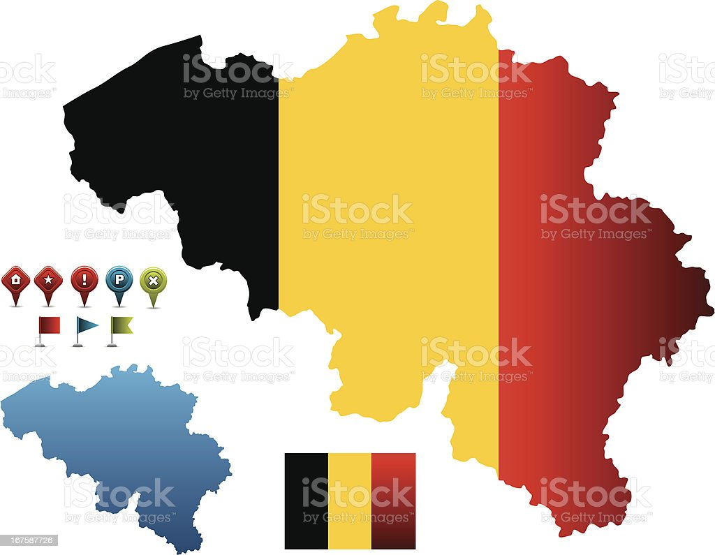 Belgium flag-map royalty-free stock vector art