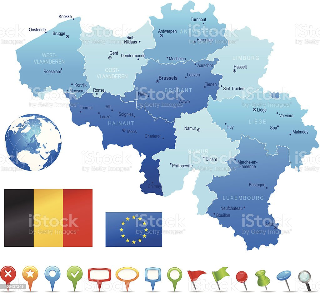 Belgium - highly detailed map royalty-free stock vector art