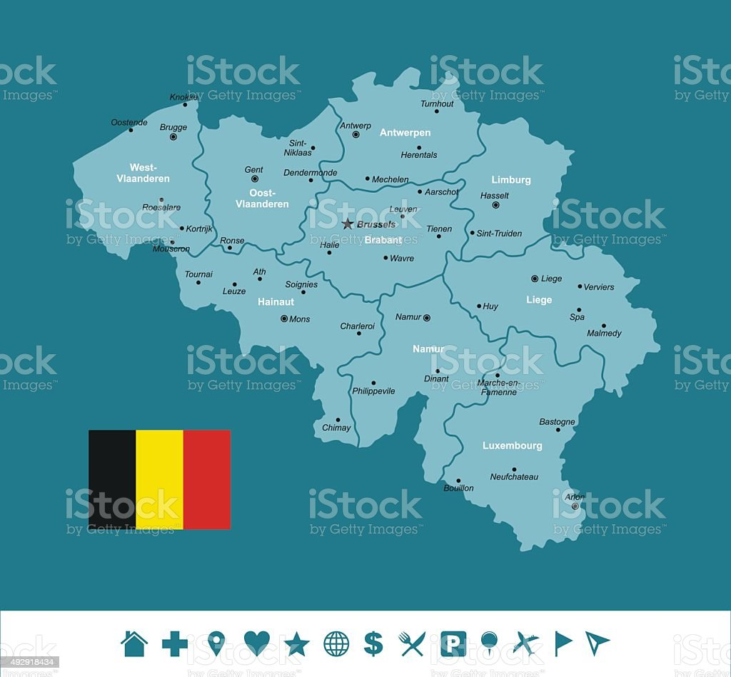 Belgium Infographic map vector art illustration