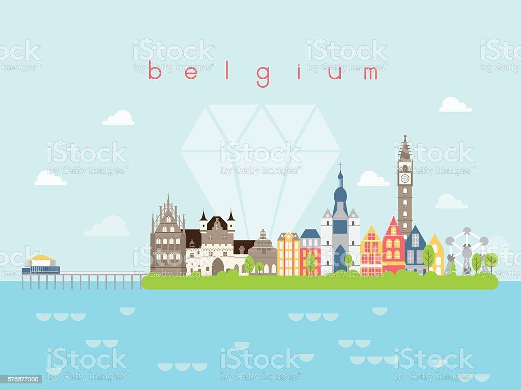 Belgium Landmarks Travel and Journey Vector vector art illustration