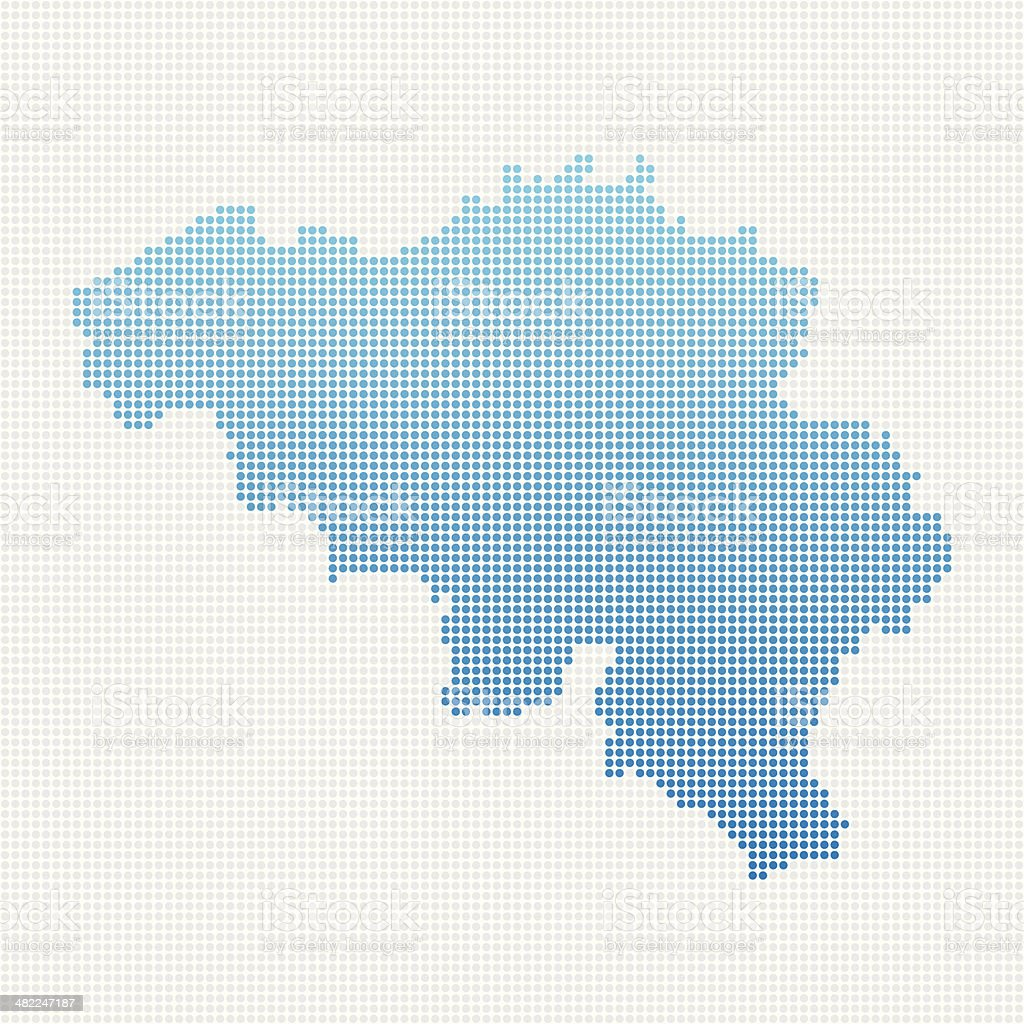 Belgium Map Blue Dot Pattern vector art illustration