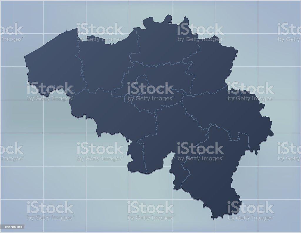 Belgium map dark blue vector art illustration