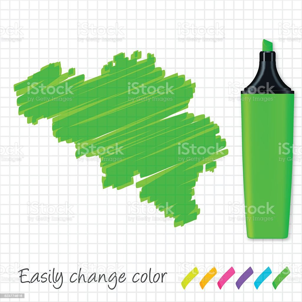 Belgium map hand drawn on grid paper, green highlighter vector art illustration