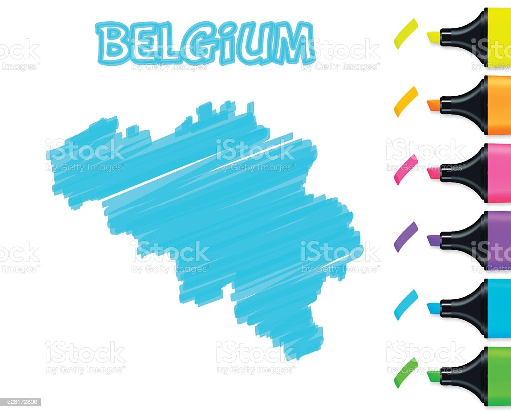 Belgium map hand drawn on white background, blue highlighter vector art illustration