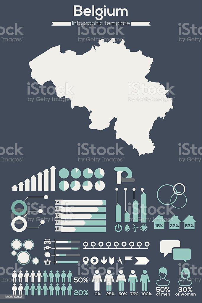 Belgium map infographic vector art illustration